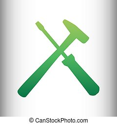 Tools sign. Green gradient icon