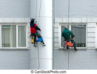 Window washers in action