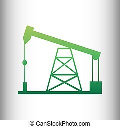 Oil drilling rig sign. Green gradient icon on gray gradient...