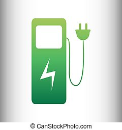 Electric car charging station sign. Green gradient icon on...