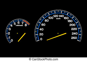 Speedometer - Driving speed speedometer gauge on car...