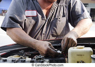 Old man 60 years old professional automotive motor