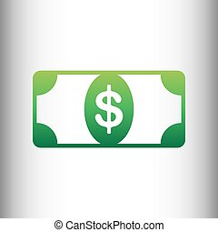 Bank Note dollar sign. Green gradient icon on gray gradient...