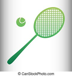 Tennis racquet icon Green gradient icon on gray gradient...