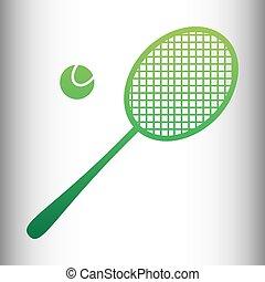 Tennis racquet icon. Green gradient icon on gray gradient...