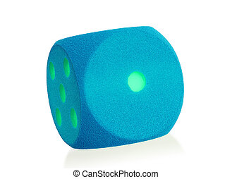Large blue foam die isolated - 1 - Large blue foam die...