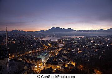 Aerial view over Luzern (Lucerne) at sunrise, Switzerland