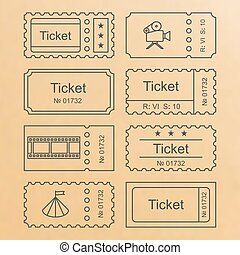 Ticket set icon - Ticket icon in the outline style. Ticket...