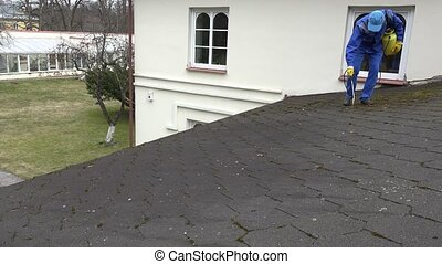 Housekeeper guy spray moss with chemicals growing on house roof