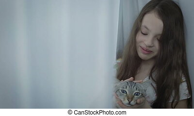 Beautiful little girl gently communicates with your loved...