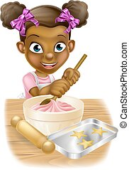 Cartoon Girl Baking - Happy black girl playing at being a...