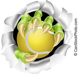 Claw with Tennis Ball Breaking out Of Background - An...