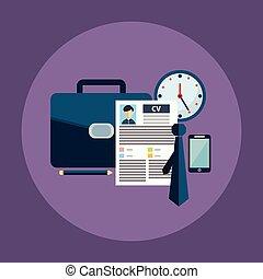 Business process icons set of  portfolio, cv,  start-up and branding