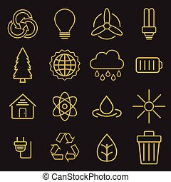 Set of universal modern thin line Ecology icons for web and...