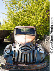 Old Truck Abandoned Rusting American Auto Junkyard - An old...