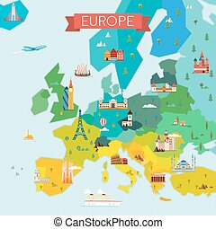 Map of Europe - Travel and tourism background Vector flat...