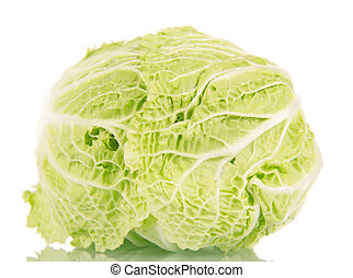 Fresh ripe chinese cabbage isolated on white - Fresh ripe...