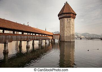 The Chapel Bridge in Luzern (Lucerne), Switzerland