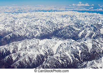 Top view of the Himalayan mountains in Tibet - Aerial views...