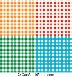 Set of checkered seamless patterns