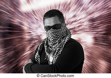 Man in Sunglasses and a Keffiyeh - Mysterious single man...