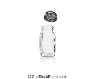 Empty salt and pepper shakers on a white background