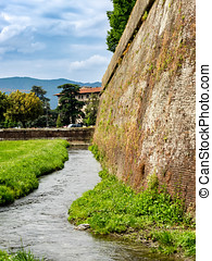 City walls around Lucca in Tuscany