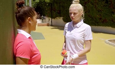 Two young women tennis players standing chatting - Two sexy...