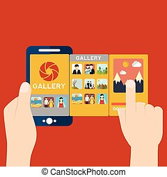 Vector illustration of mobile app for camera and gallery