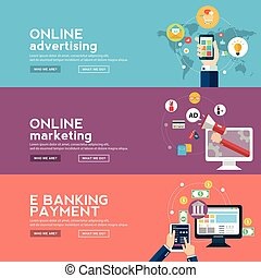 Online business banners set with advertising , marketing and...