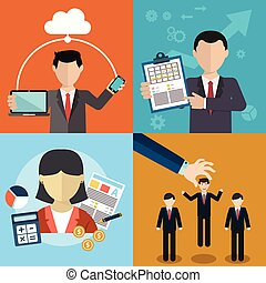 Vector collection of flat and colorful business, Human...