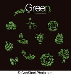 Flat design vector concept illustration with icons of ecology, environment, green energy and pollution. web banner