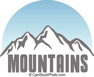 Tourism travel logo template abstract. Mountains. Vector. Editable.