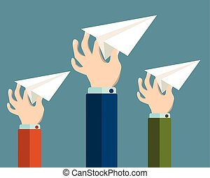 Flat design modern vector illustration concept of start up with isolated hands launching paper planes