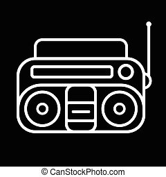 Cassette Player Icon - Old cassette player line art vector...