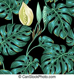 Seamless pattern with monstera leaves Decorative image of...