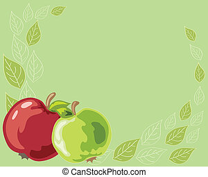 apples - vector illustration of two apples, one red and one...