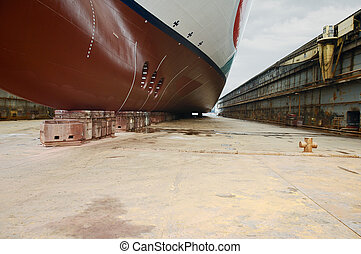 Large cruise ship at dry dock