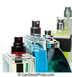Perfume set - Assorted perfume bottles on white background,...