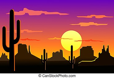 Arizona desert landscape - Silhouette illustration of...