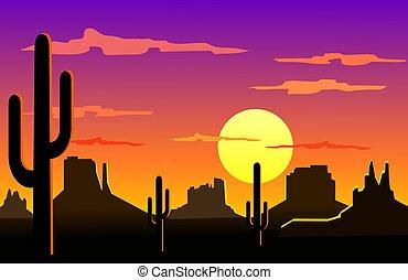 Arizona desert landscape - Silhouette illustration of...