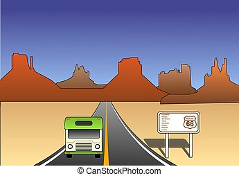 Historic route 66 - An illustration of Historic route 66 in...