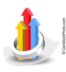 3d colorful graph design element