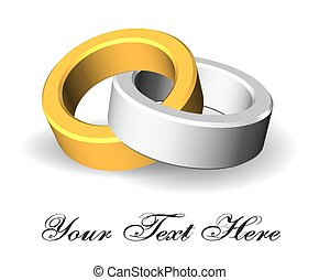 One silver and one gold ring interlaced