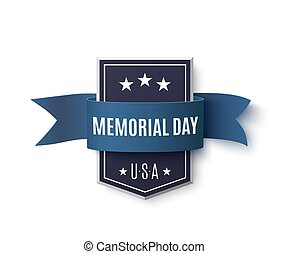Memorial Day background template. Badge with blue ribbon...