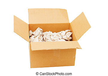 box with garbage isolated on white background
