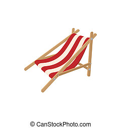 Beach chaise icon, cartoon style - Beach chaise icon in...