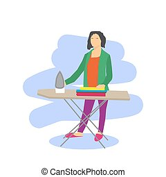 Vector woman Ironing Clothes