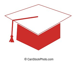 Red and White Graduation Cap