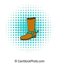 Cowboy boot icon, comics style - Cowboy boot icon in comics...
